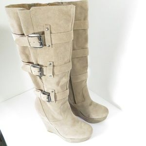 Bakers Landon Taupe Leather Knee High Wedge Boots
